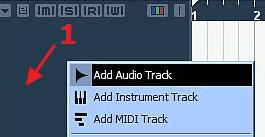 Создание аудио трека в Nuendo 4