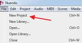 Создание нового проекта в программе Nuendo Software