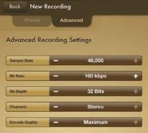 Вкладка Advanced в программе Voice Record Pro