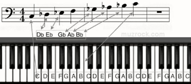 Как отображаются ноты с бемолями на нотоносце с басовым ключом для фортепиано