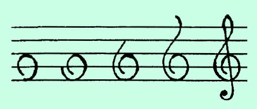 Как нарисовать скрипичный ключ на нотном стане