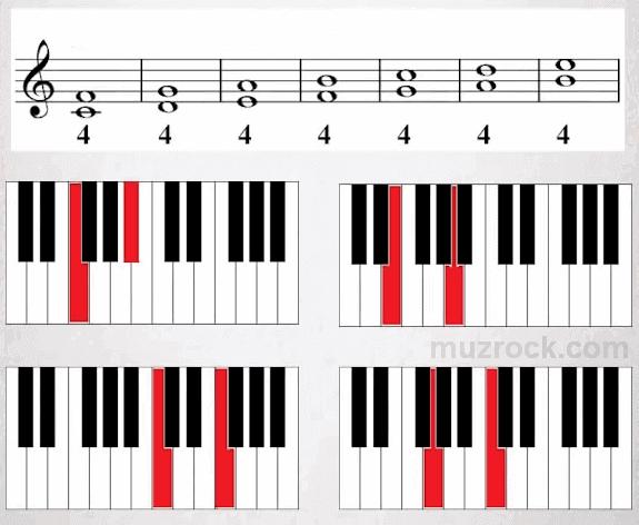 Музыкальный интервал quarta на нотном стане